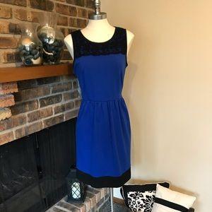 ELLE BLUE AND BLACK FLARED DRESS